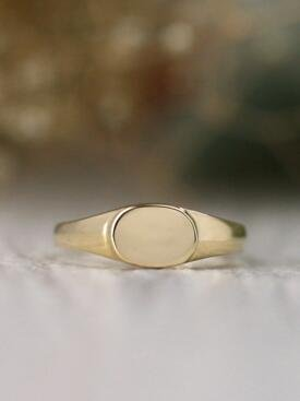 Baby Horizontal Oval Solid 14 Karat Gold Signet Ring