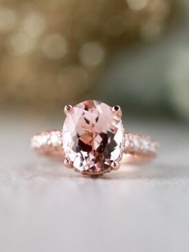 11x9MM Morganite and Diamond Under Halo Solid 14 Karat Gold Engagement Ring