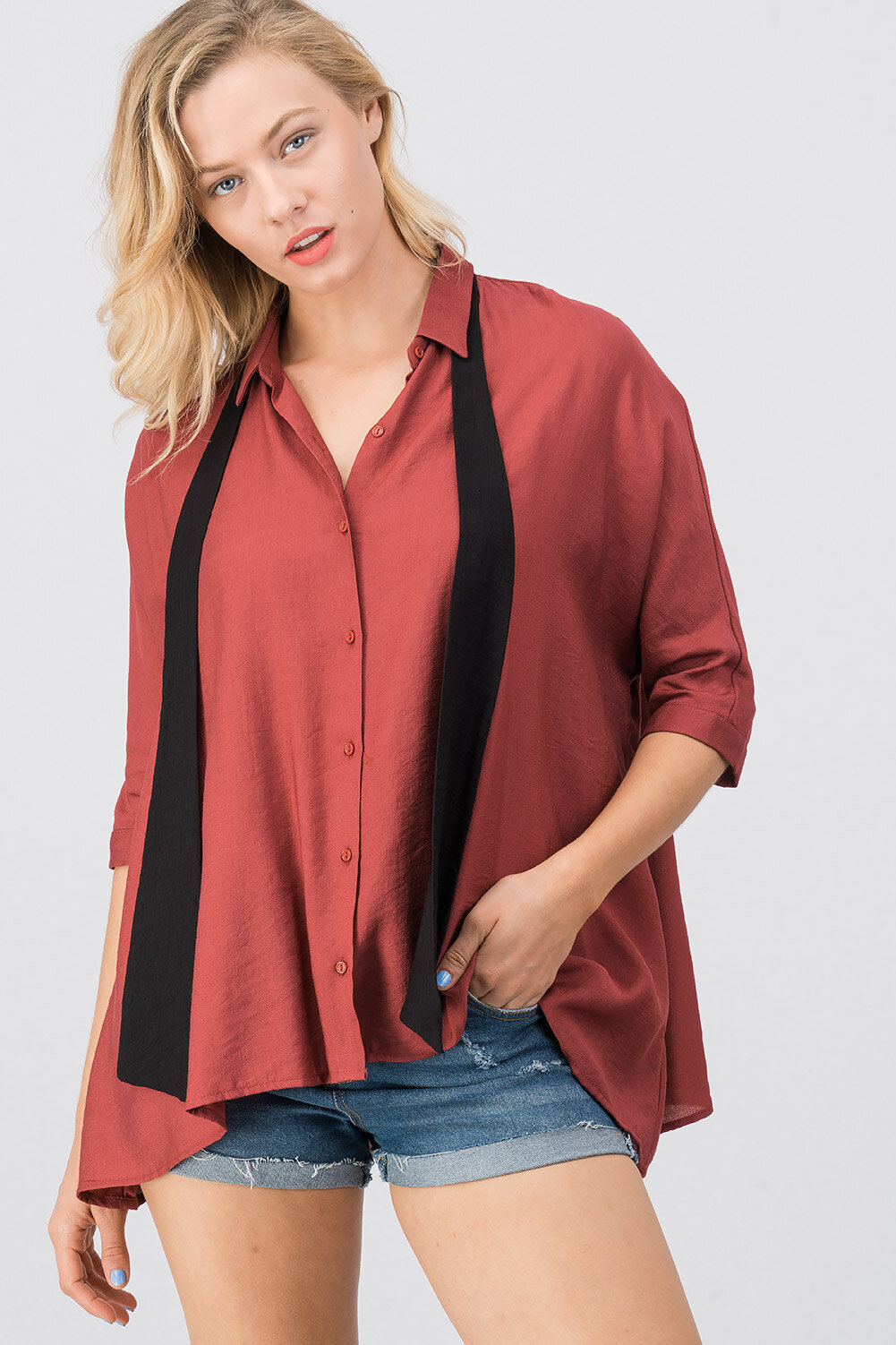 d45a9d46c085a7 Urban Tie Oversized Dolman Sleeve Shirt