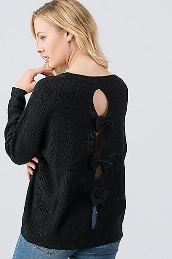 1739-4689-3 Bow Detail on Back Sweater Top