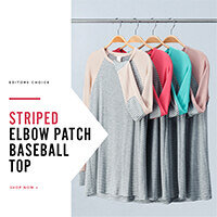Editors Choice: Striped Elbow Patch Baseball Top